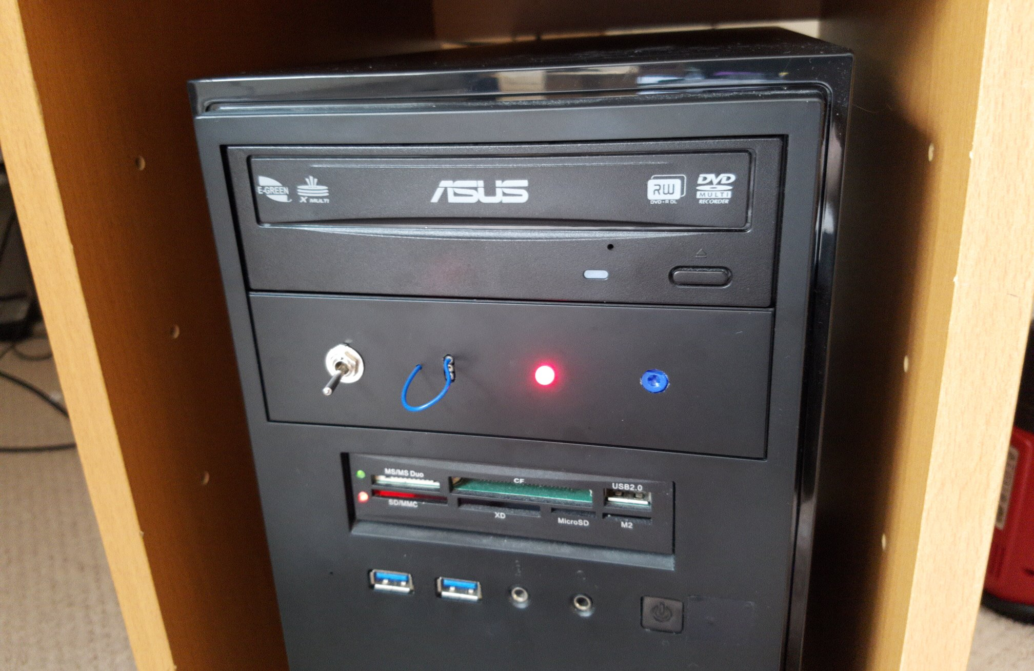 front of PC, with special fan speed controller installed
