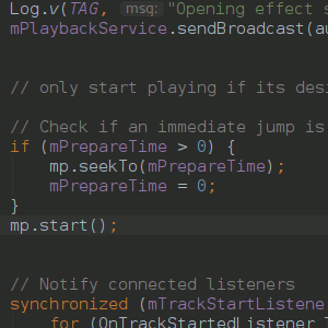 section of code from Android music-player app