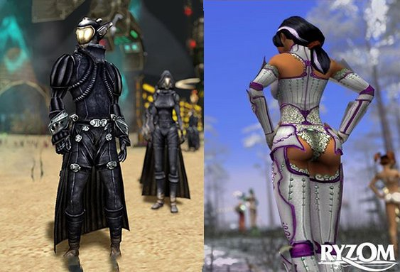 a couple of game screenshots of a guy in black armour and a woman in slutty armour