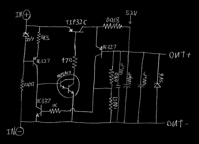 working circuit diagram, labeled with the actual components I used